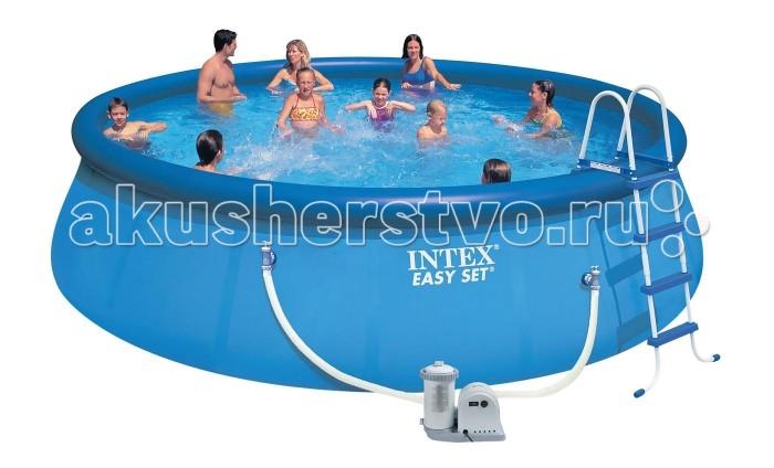 Бассейн Intex Easy Set 549х122 см с фильтромEasy Set 549х122 см с фильтромНадувной бассейн Intex Easy Set обладает двумя важными качествами: простотой конструкции и лёгким весом.   В верхней части предусмотрено надувное кольцо, которое по мере наполнения бассейна водой, поднимает и расправляет стенки, обеспечивая необходимую устойчивость. Всего 10 минут потребуется на установку конструкции.   Технология Super-Touch (сочетание винила и полиэстра), используемая в производстве, наделяет материал тройной прочностью, стойкостью к ударам, воздействию солнечного света, растягиваниям и стираниям.   Надувные бассейны, за счет отсутствия металлического каркаса, удобны в хранении и в сложенном виде не займут много места. Модель оснащена клапаном для удобства слива воды и разъемами для подключения фильтрующих и хлорирующих устройств.  Бассейн с фильтрующим насосом для очистки воды 220V. Фильтрующий насос обеспечивает очистку воды и редкую ее замену (1 раз в месяц). Также в комплекте лестница высотой 122 см, тент для бассейна, подстилка под бассейн, набор для чистки.  В комплекте также идет ремкомплект. С его помощью вы сможете устранить самостоятельно какие-либо механические повреждения на изделии, приобретенные в ходе его использования.  Размер: 549х122 см.  Вместимость бассейна: 20647 л.  Производительность насоса: 5678 л/ч.  Вес: 62.8 кг.<br>
