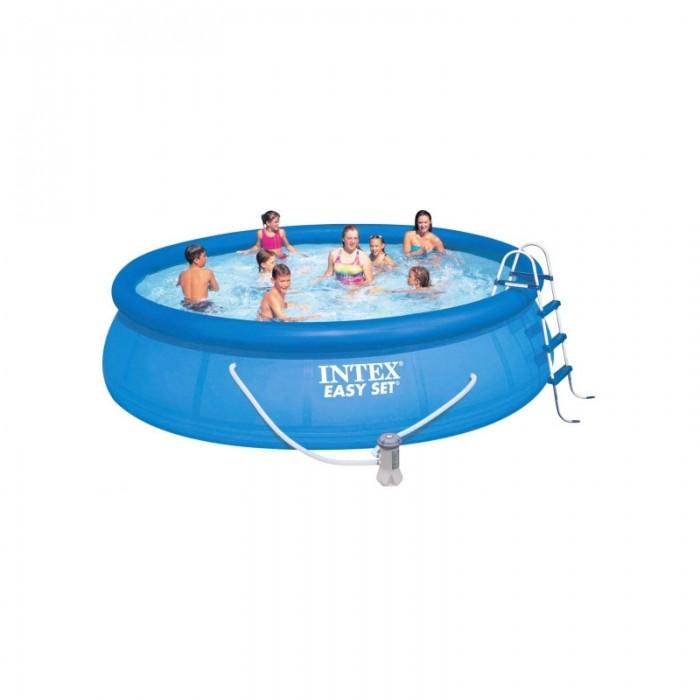 Бассейн Intex Easy Set 457х91 см с фильтром и аксессуарамиEasy Set 457х91 см с фильтром и аксессуарамиНадувной бассейн Intex Easy Set обладает двумя важными качествами: простотой конструкции и лёгким весом.   В верхней части предусмотрено надувное кольцо, которое по мере наполнения бассейна водой, поднимает и расправляет стенки, обеспечивая необходимую устойчивость. Всего 10 минут потребуется на установку конструкции.   Технология Super-Touch (сочетание винила и полиэстра), используемая в производстве, наделяет материал тройной прочностью, стойкостью к ударам, воздействию солнечного света, растягиваниям и стираниям.   Надувные бассейны, за счет отсутствия металлического каркаса, удобны в хранении и в сложенном виде не займут много места. Модель оснащена клапаном для удобства слива воды и разъемами для подключения фильтрующих и хлорирующих устройств.  Бассейн с фильтрующим насосом для очистки воды 220V. Фильтрующий насос обеспечивает очистку воды и редкую ее замену (1 раз в месяц). Также в комплекте лестница высотой 91 см, тент для бассейна, подстилка под бассейн, набор для чистки.  В комплекте также идет ремкомплект. С его помощью вы сможете устранить самостоятельно какие-либо механические повреждения на изделии, приобретенные в ходе его использования.  Размер: 457х91 см.  Вместимость бассейна: 10681 л.  Производительность насоса: 3785 л/ч.  Вес: 37 кг.<br>