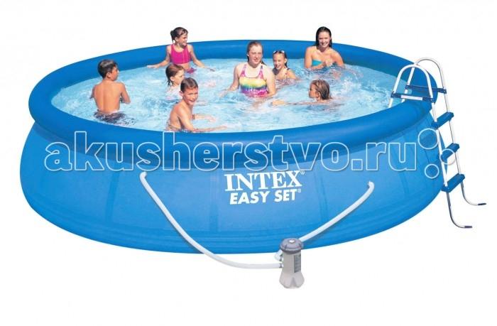 Бассейн Intex Easy Set 457х107 см с фильтромEasy Set 457х107 см с фильтромНадувной бассейн Intex Easy Set обладает двумя важными качествами: простотой конструкции и лёгким весом.   В верхней части предусмотрено надувное кольцо, которое по мере наполнения бассейна водой, поднимает и расправляет стенки, обеспечивая необходимую устойчивость. Всего 10 минут потребуется на установку конструкции.   Технология Super-Touch (сочетание винила и полиэстра), используемая в производстве, наделяет материал тройной прочностью, стойкостью к ударам, воздействию солнечного света, растягиваниям и стираниям.   Надувные бассейны, за счет отсутствия металлического каркаса, удобны в хранении и в сложенном виде не займут много места. Модель оснащена клапаном для удобства слива воды и разъемами для подключения фильтрующих и хлорирующих устройств.  Бассейн с фильтрующим насосом для очистки воды 220V. Фильтрующий насос обеспечивает очистку воды и редкую ее замену (1 раз в месяц). Также в комплекте лестница высотой 107 см, тент для бассейна, подстилка под бассейн, набор для чистки.  В комплекте также идет ремкомплект. С его помощью вы сможете устранить самостоятельно какие-либо механические повреждения на изделии, приобретенные в ходе его использования.  Размер: 457х107 см.  Вместимость бассейна: 12430 л.  Производительность насоса: 3785 л/ч.  Вес: 42 кг.<br>