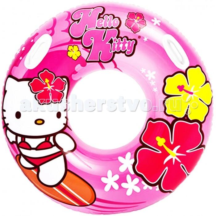 Круги и нарукавники для плавания Intex Надувной круг с ручками Hello Kitty 97 см intex надувной островок hello kitty 137см 132840