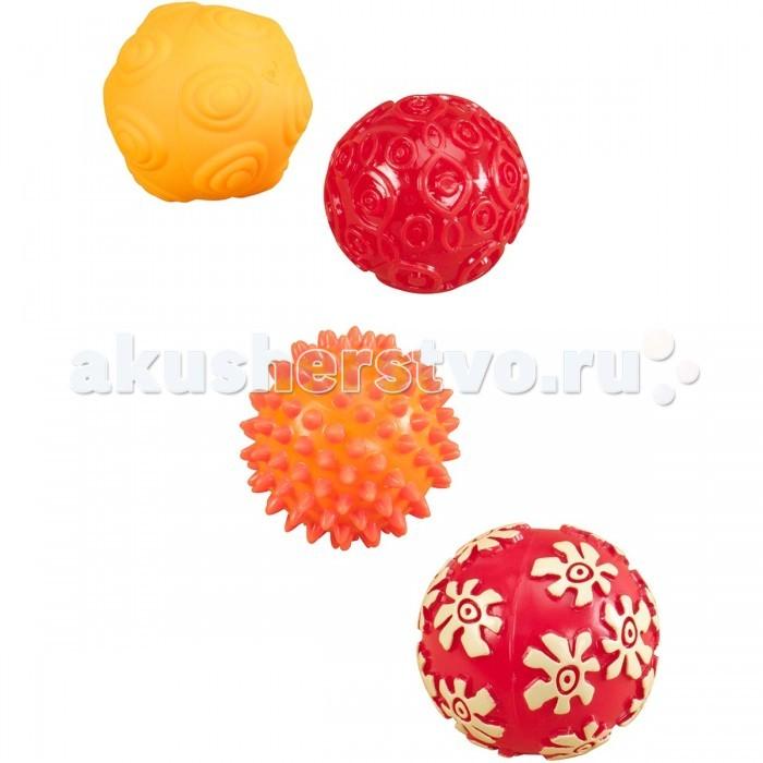 Battat Набор мячиков для моторикиНабор мячиков для моторикиBattat Набор мячиков для моторики. Малыши активно познают окружающий мир, открывают для себя новые запахи и вкусы, но не менее важно, чтобы они учились различать предметы на ощупь. У каждого мячика своя фактура, свой выпуклый узор, который наверняка заинтересует ребенка и подарит ему много радостных мгновений.  В комплекте: 4 мячика разной фактуры. Диаметр мячиков - 8 см.  Мячи можно: грызть, кусать, катать.<br>