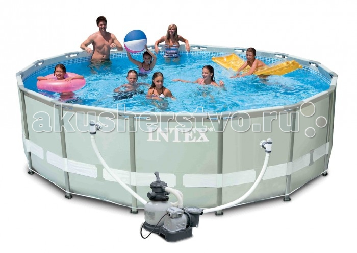 Бассейн Intex каркасный Ultra 488х122 см с песочным фильтромкаркасный Ultra 488х122 см с песочным фильтромКаркасный бассейн Intex имеет прочный металлический ободок. Такая чудесная модель прекрасно для купания в жаркие летний день. Конструкцию можно поставить на заднем дворе дома или на дачном участке.   Бассейн собирается не больше чем за пол часа, что экономит время и позволит вашим детям не томиться в ожидании.   Этот новый каркас, благодаря новой особой форме своих элементов, гораздо крепче и устойчивее, чем традиционные круглые элементы каркасов. Помимо этого, новые каркасы получаются проще в сборке. Металлические детали изготавливаются на точном оборудовании и при сборке очень точно и гладко подсоединяются друг к другу. К тому же не требуется отдельный крепеж. Новые каркасные бассейны приобрели и новый дизайн, отмеченный как специалистами, так и потребителями. Бассейн очень прочный. Металлический каркас обеспечивает дополнительную устойчивость, стенки бассейна сделаны из трех слоев: первые два — это прочный винил, между стенками имеется сетка из полиэстера, благодаря которой конструкция будет дольше служить.   Бассейн с фильтрующим насосом для очистки воды 220V. Фильтрующий насос обеспечивает очистку воды и редкую ее замену (1 раз в месяц). В качестве фильтрующего элемента в песочном фильтр-насосе используется кварцевый песок (фракция 0.45-0.85 мм), благодаря чему выше степень очистки воды от механических примесей, чем у насосов с бумажными фильтрующими элементами. Песочная установка комплектуется фильтром цилиндрической формы, насосом, клапаном переключения 6 режимов работы, манометром для измерения давления в системе. Также в комплекте лестница высотой 122 см, тент для бассейна, подстилка под бассейн.  Водосток имеет удобную форму, которая отлично соединяется с садовым шлангом. Тем самым, спуская воду с бассейна, вы можете полить цветы на участке.  Размер: 488х122 см.  Вместимость бассейна: 19156 л.  Песочный насос-фильтр: 4542 л/ч.  Вес: 95 кг.<br>