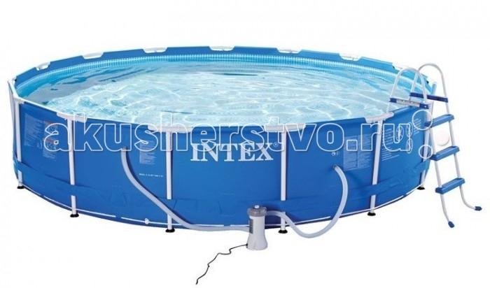 Бассейн Intex каркасный 549х122 см с фильтром и аксессуарамикаркасный 549х122 см с фильтром и аксессуарамиКаркасный бассейн Intex имеет прочный металлический ободок. Такая чудесная модель прекрасно для купания в жаркие летний день. Конструкцию можно поставить на заднем дворе дома или на дачном участке.   Бассейн собирается не больше чем за пол часа, что экономит время и позволит вашим детям не томиться в ожидании.   Бассейн очень прочный. Металлический каркас обеспечивает дополнительную устойчивость, стенки бассейна сделаны из трех слоев: первые два — это прочный винил, между стенками имеется сетка из полиэстера, благодаря которой конструкция будет дольше служить.   Бассейн с фильтрующим насосом для очистки воды 220V. Фильтрующий насос обеспечивает очистку воды и редкую ее замену (1 раз в месяц). Также в комплекте лестница высотой 84 см, тент для бассейна, подстилка под бассейн, набор для чистки и скиммер. По достоинству Вы оцените и набор для чистки, в который входит пылесос для сбора мусора со дна, стенок, и сачок для уборки загрязнений с поверхности воды бассейна. Скиммер предусмотренный в комплекте, крепится на борт бассейна, и подключается к насосу-фильтру ,затягивая в специальную чашу, вместе с потоком воды весь плавающий мусор, который не удалось захватить сачком, обеспечивая тем самым, дополнительную фильтрацию верхних слоёв воды, наиболее подверженных загрязнению. Волейбольная сетка разбавит досуг увлекательной игрой.  Водосток имеет удобную форму, которая отлично соединяется с садовым шлангом. Тем самым, спуская воду с бассейна, вы можете полить цветы на участке.  Размер: 549х122 см.  Вместимость бассейна: 24311 л.  Производительность насоса: 5678 л/ч.  Вес: 101 кг.<br>