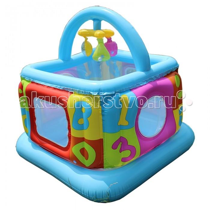 Игровой центр Intex Надувной манеж с погремушкойНадувной манеж с погремушкойНадувной игровой центр-манеж Intex Lil Baby Gym 48473 предназначен для малышей до 1.5 лет.   Висящие надувные игрушки с мячиками-погремушками для игры ребенка.   Находясь и играя в этом манеже, ребенок будет в полной безопасности, благодаря высоким и мягким боковым стенкам и надувному полу.   Окна из полупрозрачной сетки в боковых стенках позволяют родителям следить за ребенком.  Манеж быстро надувается и также быстро убирается. При хранении занимает очень мало места.  Размер 117х117х117 см<br>