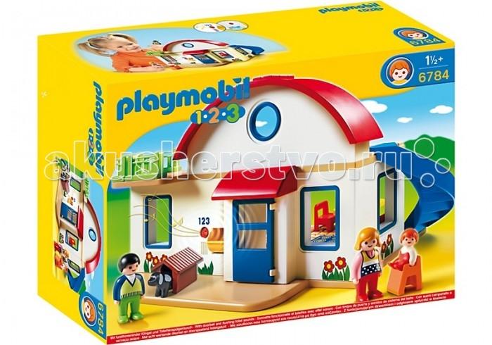 Конструктор Playmobil 1.2.3. Пригородный дом1.2.3. Пригородный домPlaymobil 1.2.3. Пригородный дом   Собственная резиденция загородом – мечта не только взрослых, но и детей. В наборе Playmobil «Пригородный дом» всё совсем как в настоящем: кухня, спальня, ванная комната, красивый балкон и даже работающий звонок!  В набор входят:  сборный домик  3 фигурки человечков  1 фигурка собаки аксессуары для кухни спальни ванной улицы.<br>