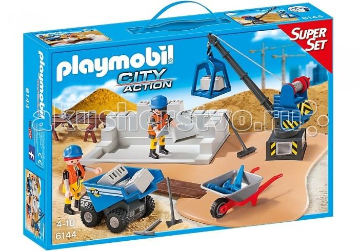 Конструктор Playmobil Супер набор: СтройкаСупер набор: СтройкаКонструктор Playmobil Супер набор: Стройка  Игровой набор предоставляет возможность поиграть в стройку, тем более, что в коробке вы найдёте всё необходимое для увлекательного занятия. Чтобы расставить композицию необходимо несколько минут и вот уже строители укладывают блоки, возвышая стену, кран поднимает грузы, а в тележку убирают строительный мусор. Игрушечный кран может поворачиваться на 360 градусов, функциональная стрела может быть зафиксирована в 7-и положениях. Развивая фантазию, ребёнок сможет построить целый город, в котором будут жилые дома и офисные центры.  Особенности: Игровой набор содержит 2 фигурки строителей, блоки для строительства дома, специальную технику и инструменты с аксессуарами. Все составляющие набора от компании Рlaymobil выполнены с хорошей детализацией, в современном дизайне и раскрашены яркими красками. Собирая композицию, ребёнок проявляет логическое мышление и конструкторские навыки. Все фигурки людей имеют подвижные части тела: у них поворачиваются головы, двигаются руки и наклоняются туловища. Играя с маленькими фигурками, малыш развивает мелкую моторику, усиливает тактильные ощущения. Придумывая сюжеты для тематических ролевых игр, ребёнок развивает воображение и фантазию. Все элементы набора выполнены из пластика прошедшего сертификацию для производства детских игрушек. Используемые красители - безопасны и гипоаллергенны. Элементы набора комбинируются с другими комплектами Рlaymobil из серии Супер набор.  Особенности: Комплект: 2 фигурки строителей, строительная техника (мини-самосвал, самосвальный кузов с установкой крана и опорной плитой), участок стены, стеновые блоки, тачка, 4 деревянные доски, строительные козлы, набор инструментов и аксессуары.<br>