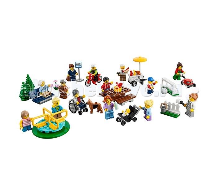 Конструктор Lego Город Праздник в парке — жители Lego CityГород Праздник в парке — жители Lego CityLego City Город Праздник в парке — жители Lego City собирается из 157 деталей и состоит, в основном, из множества разнообразных мини-фигурок - всего в наборе 14 минифигурок, а также фигурка собачки и фигурка малыша. Впервые в конструкторах Лего появилась фигурка инвалида в кресле! Все фигурки уникальные, среди них также можно встретить малыша в колясочке.  Lego City Праздник в парке дарит вам уникальную возможность провести прекрасный, солнечный день в компании замечательных людей на свежем воздухе! Здесь вы наверняка найдете занятие себе по душе и присоединиться к отдыхающим! Можно купить вкусный хот-дог, покататься на карусели, поиграть в футбол, устроить пикник за столиком и придумать себе любое другое развлечение. Посмотрите, как романтично пожилой мужчина ухаживает за своей женой и дарит ей букет цветов! И как мило выглядит отец, присматривающий за своим крохой, пока его мама накрывает на стол для замечательного пикника! А как забавно голодный пес настойчиво пытается стащить сосиску у продавца хот-догов!   Не у всех, к сожалению, выходной в этот дивный день - кто-то работает, стрижет газон и красит забор, пока другие наслаждаются прекрасной погодой. А кто-то просто с интересом наблюдает за праздником со стороны, дожидаясь своего автобуса на станции..  Стоит только захотеть, и в один миг все они могут поменяться местами! С этим набором вы можете сделать жителей города чуть более счастливыми, добавив в их жизни праздник и веселье!  Минифигурки набора: Мальчик и девочка, катающиеся на карусели Пожилая пара Молодая пара с младенцем Молодая девушка Инвалид в коляске Собачка Велосипедист Продавец хот-догов Маляр Юный футболист Офисный работник Подстригальщик газонов<br>
