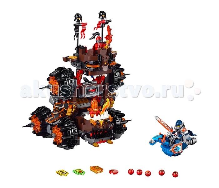Конструктор Lego Нексо  Роковое наступление Генерала МагмараНексо  Роковое наступление Генерала МагмараLego Nexo Knights Нексо Нексо Роковое наступление Генерала Магмара собирается из 516 деталей и включает 3 минифигурки.  После сборки мы получаем огромную ужасающую осадную машину Генерала Магмара и Рыцаря Нексо Клэя верхом на своем боевом скакуне. Среди аксессуаров стоит отметить 5 Глоблинов, 3 Нексо силы и Книгу Разрушений, которая ни в коем случае не должна попасть в руки приспешников Джестро.  Начнём с «хороших парней». В руках Клэя огромный энергетический меч, сам он закован в силовую броню и готов сразиться с кем угодно. Его летающий ховерцикл выполнен в виде коня и раньше встречался нам в наборе с боевой крепостью Найтонии Фортрексом.  Центральное место занимает, конечно же, осадная башня Магмара. Внешне она напоминает огромного монстра, распахнувшего свою пасть и горящими глазами. Она состоит из 3 этажей. На верхней площадке стоит сам Магмар. Площадка хорошо защищена, по бокам установлены 2 катапульты и 2 флагштока с развевающимися флагами и украшениями из шлемов. Средний этаж занимает функциональный дискомет, который может вести огонь на достаточно большой дистанции и 2 колеса по бокам. На нижнем этаже расположена небольшая тюрьма, в которой можно держать захваченных врагов, 4 больших «зубастых» колеса с шипами и место «второго пилота».  Злодеи представлены двумя потрясающими минифигруками: Флама, брат Молтора, тело которого состоит из жидкой лавы, что делает его одним из самых опасных противников на поле боя и величайший стратег, воин и кулинар, созданный Книгой Монстров — обладатель грандиозного самомнения, с которым можно сравнить только его же собственный запас невезения, который не позволяет ему побеждать ни в одной баталии, которые он же и устраивает.<br>