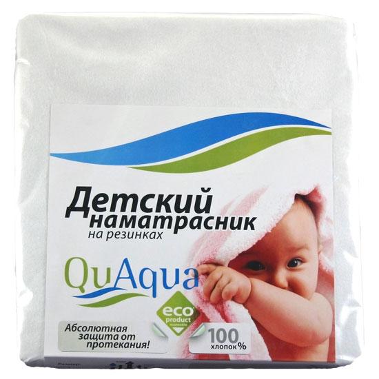 Qu Aqua Непромокаемый натяжной наматрасник (фланель) 120х60