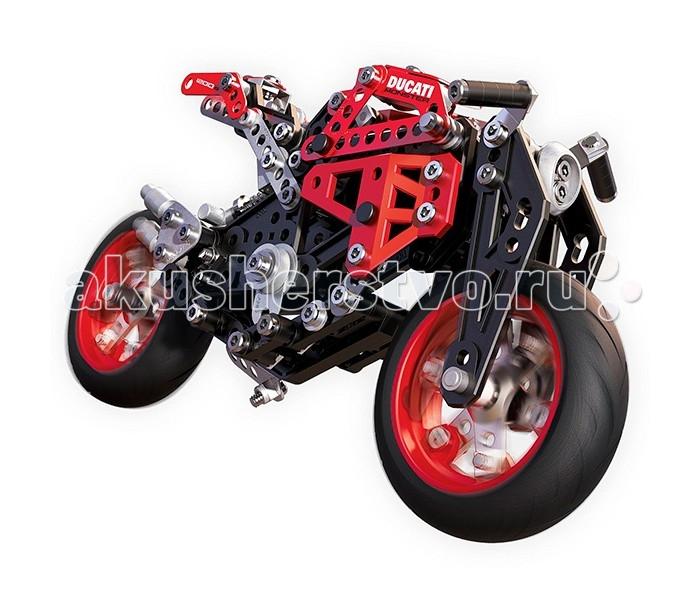 Meccano Мотоцикл ДукатиМотоцикл ДукатиMeccano Мотоцикл Дукати  Производители легендарных конструкторов Меккано, компания Spin Master, представила новый замечательный набор – металлическую модель мотоцикла Ducati Monster 1200 S. Этот набор состоит из 292 различных деталей, изготовленных в основном из металла, соединять которые Вам предстоит при помощи гаечного ключа, отвертки и винтиков. Также имеются пластиковые детали и резиновые колеса.  Примечательность этого набора заключается, во-первых, в точнейшей детализации модели мотоцикла. Схожесть модели с оригиналом прослеживается вплоть до мельчайших подробностей, что подтверждают даже представители итальянской фирмы Дукатти, производящей настоящие мотоциклы Monster 1200 S. Во-вторых, собранная модель обладает вполне функциональным рулевым управлением, подвеской, боковой подставкой и другими деталями.<br>