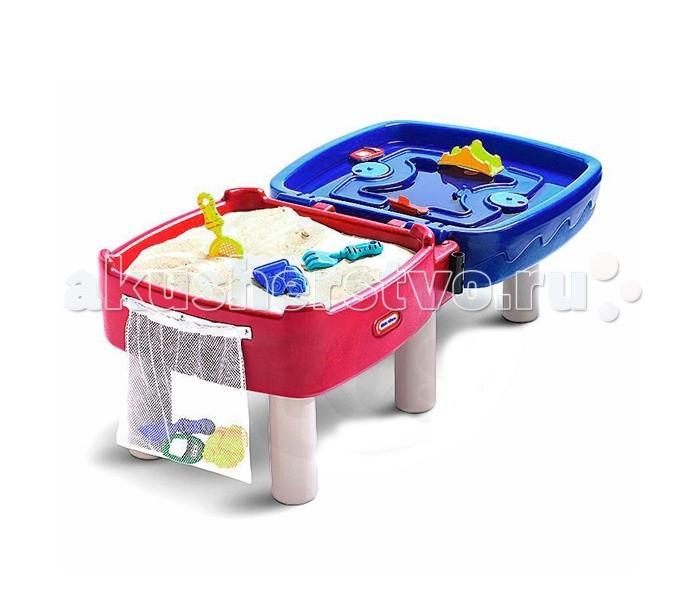 Little Tikes Стол-песочницаСтол-песочницаСтол-песочница.  Включает большую область для игры с песком, а также область для игры с водой со встроенными шоссе, мостом и воротами. Если сложить стол вдвое, получится игровой стол! Вмещает до 22кг песка.   Включает инструменты для игры с песком и формочки, а также сумку для их хранения. Вес: 12,24кг.   Габариты в собранном виде: 143x74x50см.<br>