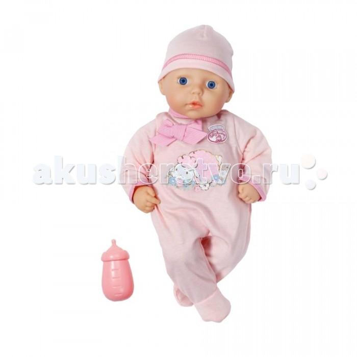 Zapf Creation my first Baby Annabell Кукла с бутылочкой 36 смmy first Baby Annabell Кукла с бутылочкой 36 смZapf Creation my first Baby Annabell Кукла с бутылочкой, 36 см  Ручки и ножки куклы выполнены из качественного мягкого пластика, повторяющего фактуру кожи младенца. У Baby Annabell большие и красивые глаза с глубоким, естественным взглядом. Она выглядит совсем как настоящий новорождённый ребенок. В комплекте с пупсом идет небольшая розовая бутылочка для кормления. Одежда куклы сделана из приятной на ощупь, натуральной ткани. И смотрится очень аккуратно и нарядно.<br>