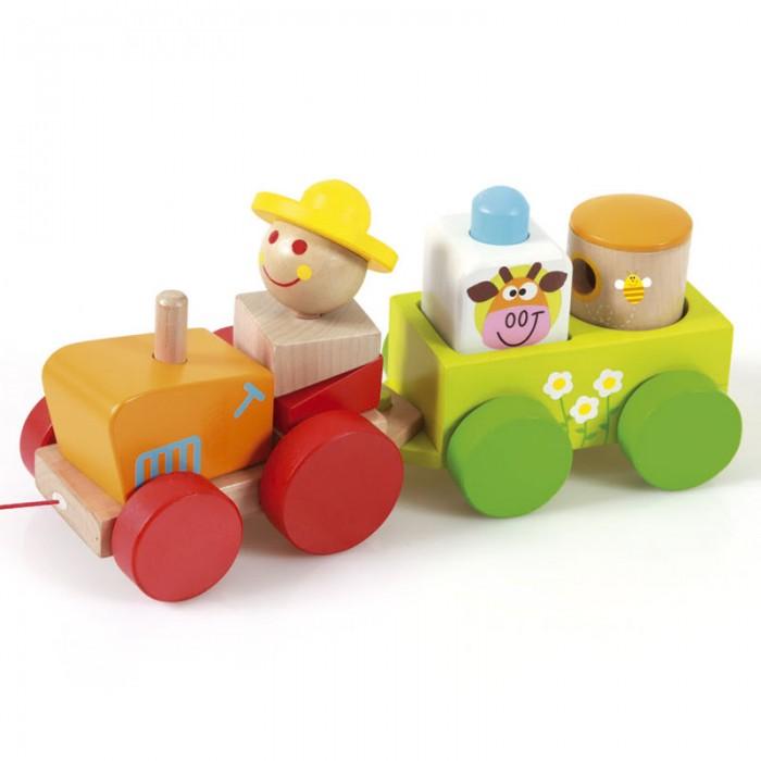 Деревянная игрушка Scratch   Трактор ЧарлиТрактор ЧарлиScratch Трактор Чарли.  Во время игры с трактором Чарли ребенок научиться различать фигуры, форму и цвет, тренировать логическое мышление и мелкую моторику пальчиков рук.<br>