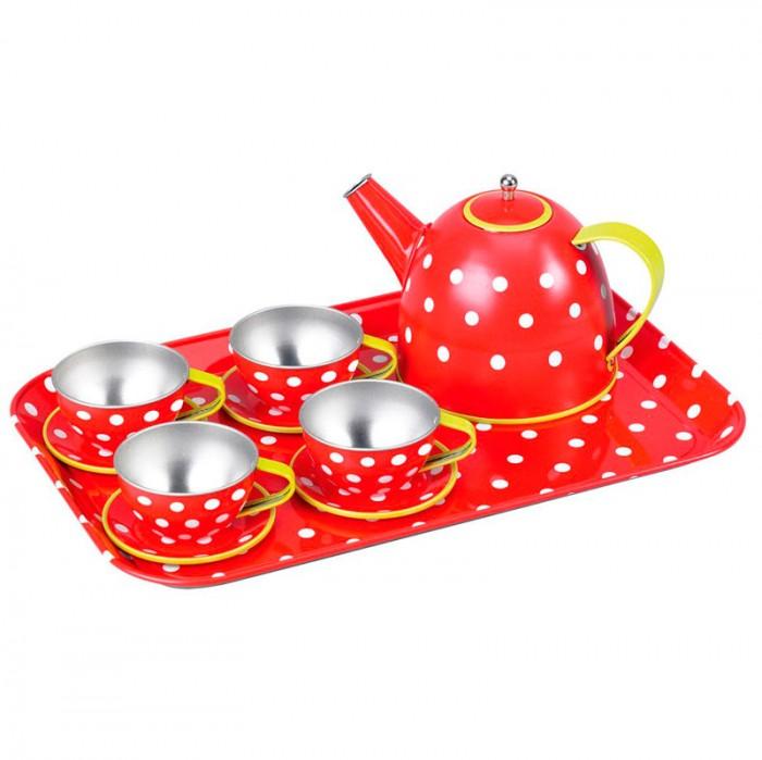 Spiegelburg Игровой чайный набор GardenИгровой чайный набор GardenSpiegelburg Игровой чайный набор Garden.  Металлический чайный набор Garden из 16 предметов в картонном чемоданчике. В комплект входят: поднос, чайник, четыре тарелки, четыре чашки и четыре блюдечка. С таким набором ваша малышка будет устраивать чаепития с игрушками или друзьями.<br>