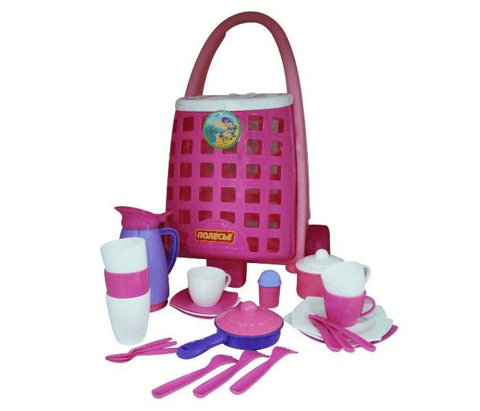 Полесье Забавная тележка + набор детской посуды