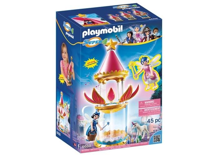 Конструктор Playmobil Супер4: Музыкальные Цветочная Башня с ТвинклСупер4: Музыкальные Цветочная Башня с ТвинклКонструктор Playmobil Супер4: Музыкальные Цветочная Башня с Твинкл оригинальная музыкальная шкатулка, внутрь которой можно поместить одну из фигурок. Чтобы услышать мелодию, нужно вытянуть цветок из прозрачного цилиндра, его лепестки сразу же откроются, явив миру очаровательную фею, которая будет медленно вращаться под приятные звуки. В получившейся конструкции также можно приютить еще одну крылатую леди, открыв для нее чердачную комнату, а свободное пространство в нижней ее части можно отвести под стойло для белого скакуна, которой станет еще красивее, если надеть на его ногу браслет в виде свернутого листика.  В наборе: 2 фигурки феи 1 единорог 1 башня 1 аксессуары.<br>