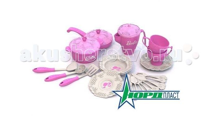 Ролевые игры Нордпласт Набор кухонной и чайной посудки Барби 21 предмет в сетке нордпласт набор кухонной и чайной посудки барби 21 предмет нордпласт