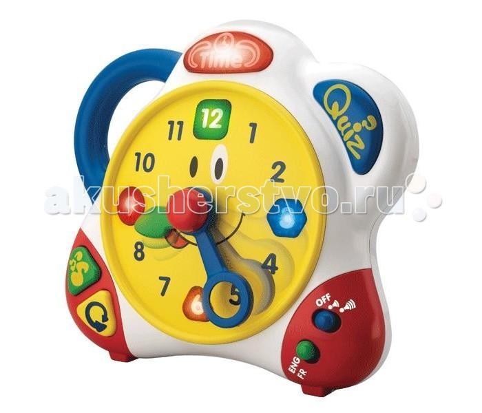 Hap-p-Kid Игрушка Часики (на двух языках)Игрушка Часики (на двух языках)Развивающая игрушка Часики от фирмы Happy Kid поможет научиться малышу самостоятельно правильно определять время на часах. Часики могут общаться с малышом на двух языках - на русском, и на английском.  На боковой левой панели часов имеется удобная для малыша ручка. Игра с часиками развивает внимание, память, логическое мышление и мелкую моторику рук малыша. Работая в режиме русский язык игрушка разговаривает приятным женским голосом, а в режиме английского языка озвучивает голос озорного мальчика. Для перехода от одного режима к другому на одной из ножек игрушек есть удобный переключатель.  Вокруг циферблата забавных часиков Happy Kid есть несколько крупных функциональных кнопок: - Красная кнопочка с надписью Time (Время). Когда ребенок нажимает на нее, а затем передвигает стрелки, часики скажут, который час на них указан. Например: шесть часов, пятнадцать минут - Синяя кнопочка Quiz (Экзамен). В режиме экзамена часики предложат малышу выполнить одно из заданий. Например, установить стрелочки на пять часов, двадцать минут или показать, где на часах находится треугольник - Желтая кнопочка со стрелочкой повторит ранее заданный вопрос - Зеленая кнопочка с нотками включает запись веселых мелодий<br>