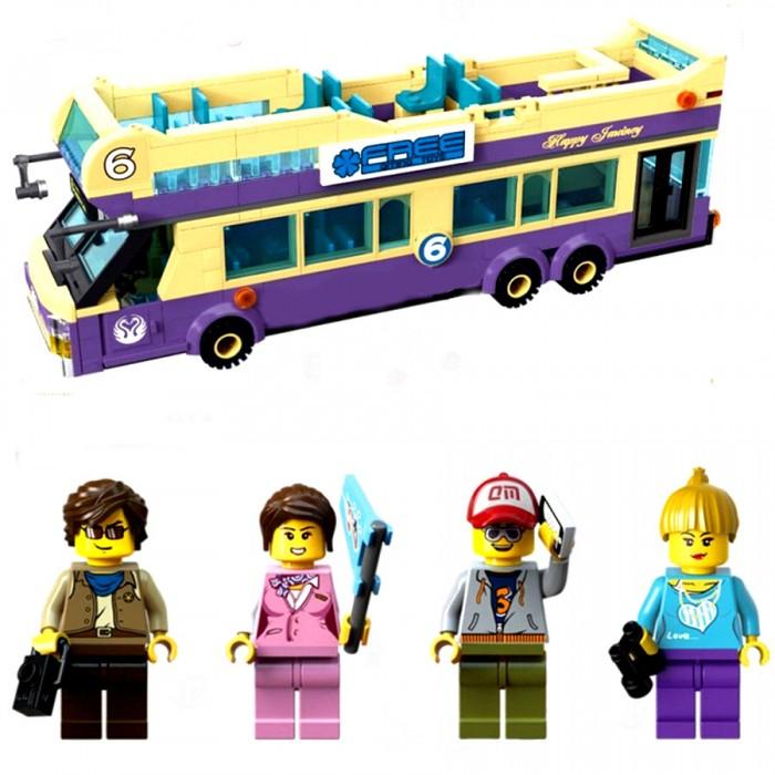 Конструкторы Enlighten Brick Туристический автобус 1123 (455 элементов) конструктор enlighten brick каток c1104 1104
