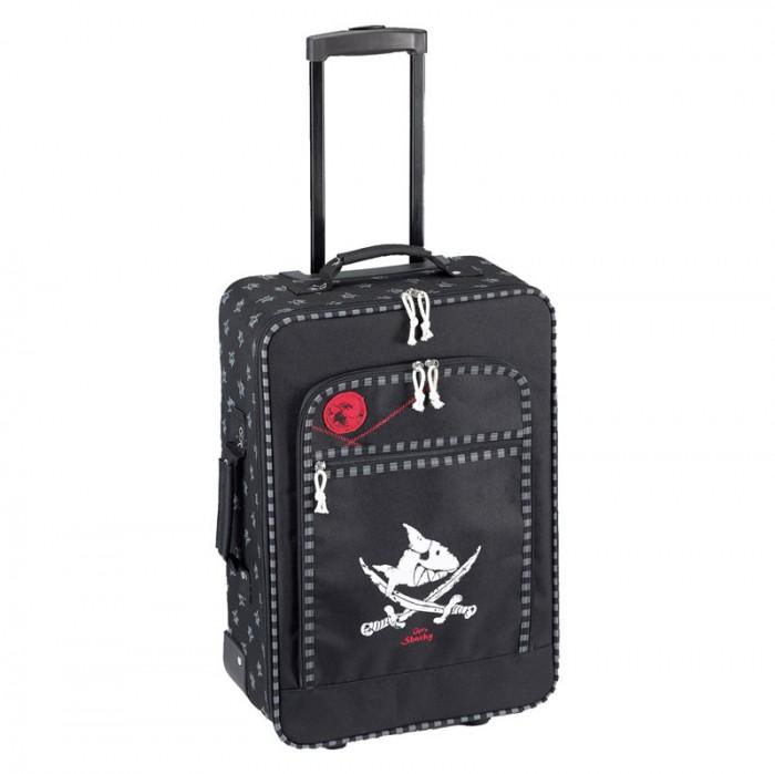 Spiegelburg Детский чемодан Captn Sharky 30173Детский чемодан Captn Sharky 30173Spiegelburg Чемодан Captn Sharky.  Чемодан Capt'n Sharky для юных путешественников! Компактный и удобный он будет незаменимым помощником для ребенка в поездках. Обладает небольшим весом, удобной выдвижной ручкой и колесиками, что позволяет малышу самостоятельно перевозить свой багаж.  Общие характеристики  телескопическая ручка, 2 положения  1 ручка для переноски  однополосная молния  2 колесика и опорные ножки  внешний карман на молнии.<br>