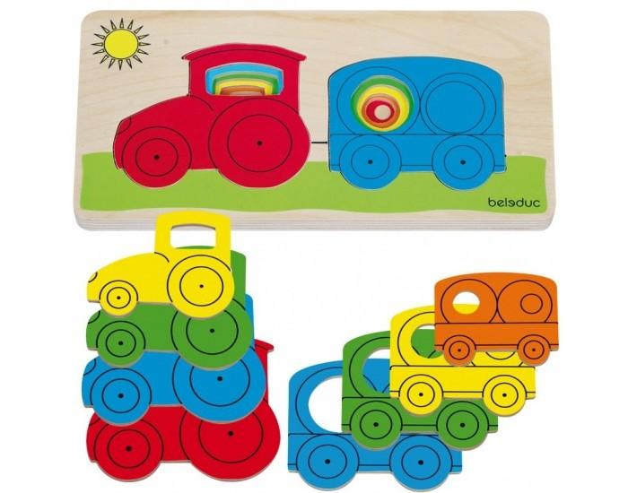Деревянная игрушка Beleduc Развивающий пазл ТракторРазвивающий пазл ТракторBeleduc Развивающий пазл Трактор - увлекательная развивающая игра для детей, выполненная из высококачественной древесины и раскрашенная в яркие цвета нетоксичными красками. Вкладывая элементы в деревянную рамку, ребенок сможет собрать картинку с трактором, попутно осваивая понятия больше-меньше, изучая цвета и порядок следования фигур от маленьких к большим.  Особенности: Набор состоит из деревянной рамки и 8 разноцветных элементов Фигурки выполнены в виде трактора и прицепа (по 4 шт. каждого вида) Элементы выполнены из высококачественной древесины, они не боятся деформаций и удобны для детской руки Фигурки вкладываются без особых усилий - сначала маленькие, затем большие Рамка и фигурки имеют закругленные формы и безопасны для малышей  Игра развивает у детей мелкую моторику и координацию Вкладывая в рамку сначала мелкие детали, а затем крупные, ребенок получит картинку трактора с прицепом, попутно осваивая понятия больше-меньше, порядок следования фигур и изучит цвета  В комплекте: деревянная рамка, 8 элементов.<br>