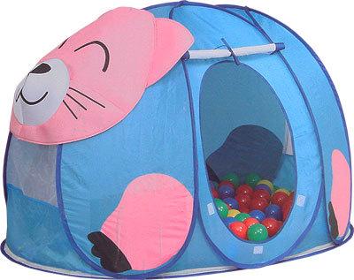 Calida Дом-палатка + 100 шаров КотёнокДом-палатка + 100 шаров КотёнокЯркая игровая палатка Calida Котенок замечательно подходит как для игр в помещении, так и для летнего отдыха детей за городом, на даче или пикнике.  Легкая, прочная палатка, легко стирается и удивительно проста в сборке. Большое круглое отверстие-вход закрывается дверкой-шторкой и надёжно прикрепляется к основе с помощью «липучек», в открытом состоянии дверка может быть скручена и закреплена под крышей с помощью верёвочек. На боковых стеночках и «крыше» есть вставки из сетчатого материала.   В комплекте: палатка 100 шариков (диаметр 7 см) круглая нейлоновая сумочка на молнии  Материал: поливинилхлорид. Размер палатки: 130х90х85 см.<br>