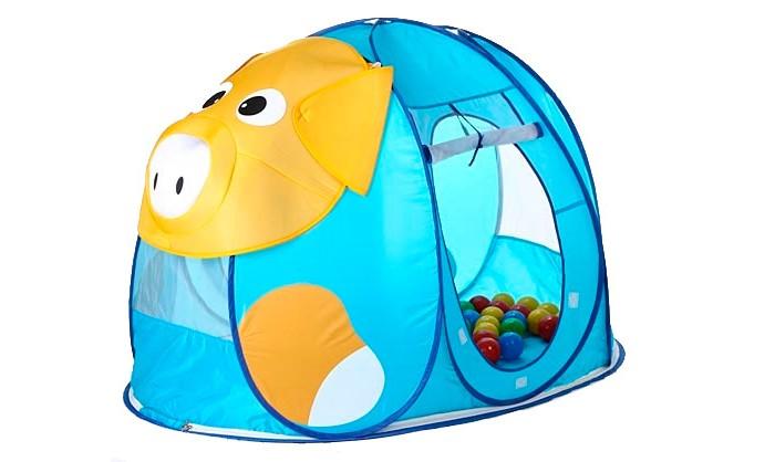 Calida Дом-палатка + 100 шаров ПоросенокДом-палатка + 100 шаров ПоросенокПалатка Calida Поросенок легкая, прочная, легко стирается и удивительно проста в сборке. Стоит только извлечь ее из сумочки, как палатка сама разворачивается (за счет каркаса-спирали)!  Дверца-вход в палатку легко скручивается и крепиться с помощью веревочек. А на рассыпанных по палатке шариках приятно полежать, расслабившись, или с удовольствием в них побарахтаться. В игре с шариками развивается координация движений, умение управлять своим телом, общая моторика, ловкость и меткость.  В комплекте: палатка 100 шариков (диаметр 7 см).  Материал поливинилхлорид. Размер палатки 130х90х85 см.<br>