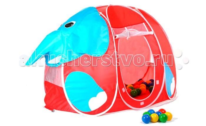 Calida Дом-палатка + 100 шаров СлоникДом-палатка + 100 шаров СлоникПалатка Calida Слоник очень вместительная, в ней можно устроиться с лучшим другом и лежа почитать книжку после шумной игры. Ведь каждый ребенок мечтает о своем уютном домике.  В игровой комплект включено 100 пластмассовых шаров, чтобы игры были еще интереснее!  Специальная сумка для хранения сложенного домика в комплекте!  Размеры: 130х90х85 см.<br>