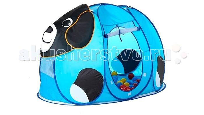 Calida Дом-палатка + 100 шаров СобачкаДом-палатка + 100 шаров СобачкаПалатка игровая Calida Собачка выполнена в виде забавного, добродушного пёсика. Это отличное место для самостоятельной или групповой сюжетно-ролевой игры.   Палатка легкая, прочная, легко стирается и удивительно проста в сборке. Стоит только извлечь ее из сумочки, как палатка сама разворачивается (за счет каркаса-спирали)! Дверца-вход в палатку легко скручивается и крепиться с помощью веревочек.А на рассыпанных по палатке шариках приятно полежать, расслабившись, или с удовольствием в них побарахтаться.   В комплекте: палатка 100 шариков (диаметр 7 см)   Размер палатки: 130х90х85 см<br>