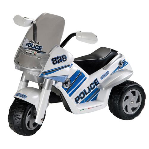Электромобиль Peg-perego Raider PoliceRaider PoliceДетский мотоцикл Peg-perego Raider Police с электроприводом для езды по ровной поверхности. Может выполнять подъемы максимально под углом 5 градусов. Одноместный электромобиль с максимальной нагрузкой до 20 кг.  Начало движения - при нажатии на педаль газа, остановка при ненажатой педали.  Особенности мотоцикла Peg-perego Raider Police: предназначен для детей от 2 до 5 лет герметичный аккумулятор 6 V один двигатель 60 Вт скорость движения 4,2 км/час одна скорость движения 4км/час преодоление подъёма мах=5% максимально допустимая нагрузка 20кг время первого заряда 18 часов (последущие - 8 часов) время работы около 90 минут звук работающего двигателя клаксон мигающие фары система автоматического торможения (акселератор и тормоз - в одной педали) ветровое стекло  Особенности:  Размеры (шxдxв): 56.5 x 93 x 74 см Вес: 10,4 кг   В комплекте: электромОбиль, аккумулятор, зарядное устройство для аккумулятора.<br>