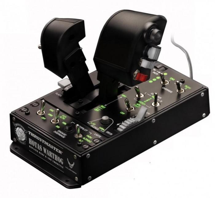Thrustmaster Джойстик РУД Warthog Dual Throttle PCДжойстик РУД Warthog Dual Throttle PCСистема сдвоенных рычагов  Инновационная технология H.E.A.R.T HallEffect AccuRate Technology:  - трехмерные магнитные датчики (Hall Effect) на двух рычагах — для исключительной точности действия и не убывающей со временем четкости  - 14-битное разрешение (16384 значений) для каждого рычага USB-подключение с обновляемой прошивкой. Сдвоенные рычаги со следующими характеристиками:  - металлический упор для руки  - система фиксации  - регулируемая фрикционная система: жесткое, линейное или жидкостное трение, без мертвых зон  - реалистичный стопор IDLE c системой Pull & Push  - реалистичный съемный стопор AFTERBURNER с системой Pull & Push  - кнопки и переключатели с реалистичным сопротивлением нажатию  - 17 командных кнопок + 1 переключатель-мышь с нажимной кнопкой + переключатель точки обзора с 8 направлениями:  1 переключатель с нажимной кнпокой и 3D магнитный датчик (Hall Effect)  1 8-позиционный переключатель точки обзора  1 4-позиционный переключатель с кнопкой  1 нажимная кнопка  1 3-позиционный переключатель (2 возвратных положения + 1 невозвратное)  2 3-позиционных переключателя (3 невозвратных положения)  1 3-позиционный переключатель (1 возвратное положение + 2 невозвратных)  + Программная среда — T.A.R.G.E.T (Thrustmaster Advanced pRogramming Graphical EdiTor).  Возможность тестирования, настройки и программирования контроллеров Thrustmaster®: HOTAS Warthog™, MFD Cougar, HOTAS Cougar™ и T.16000M.  Работает по принципу перетаскивания «Drag and Drop».  Несколько уровней программирования: Basic, Advanced и Script.  1 панель управления  Утяжеленная база (больше 3 кг) в основании сдвоенных переключателей. Функции подсветки.  5 программируемых индикаторов. Кнопки и переключатели с реалистичным сопротивлением нажатию. В общей сложности 15 кнопок + 1 колесико TRIM:  - 1 колесико TRIM  - 2 нажимные кнопки  - 5 2-позиционных переключателей (2 невозвратных положения)  - 2 3-позиционны
