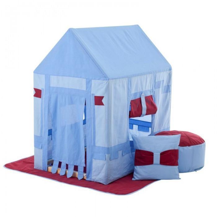 Paremo Текстильный домик с пуфиком Замок БристольТекстильный домик с пуфиком Замок БристольParemo Текстильный домик с пуфиком Замок Бристоль PCR116-01   Текстильный домик-палатка с пуфиком «Замок Бристоль» PAREMO разработан для мальчиков старше 3-летнего возраста, поскольку именно в этот период основной детской активностью становится сюжетно-ролевая игра, и возникает потребность в организации отдельного личного пространства. Самым оптимальным решением для совмещения 2-ух этих важных для становления личности ребенка потребностей является оснащение персонального игрового пространства. В помощь мамам и папам дизайнеры PAREMO разработали новую серию закрытых игровых текстильных домиков, ярких и функциональных.  - Игровая палатка для мальчиков «Замок Бристоль» представляет собой домик с деревянным каркасом и хлопковым стилизованным под рыцарский замок чехлом, фиксирующемся завязками в основании домика. - Каркас деревянный, требует сборки перед началом эксплуатации. По размерам подходит под стандартные дверные проемы, облегчая перемещение игрушки между комнатами квартиры. - Текстильная часть домика выполнена в светло-голубом цвете и декорирована вставками насыщенно голубого цвета, бордовыми шторками, а также флагами. - В домике большой дверной проем и 2 окошка. Дверь стилизованная, на окнах яркие шторки цвета бордо с подвязкой для удобной фиксации шторки в верхнем положении. - Все текстильные элементы легко снимаются, что очень удобно для стирки и ухода за игрушкой.  В комплект поставки игрового набора «Замок Бристоль» входит: - Каркас дома; - Игровой чехол в виде рыцарского замка; - Двусторонний игровой коврик в основание домика; - Подушка; - Пуфик; - Фурнитура для сборки каркаса; - Инструкция по сборке.  Отличительные особенности: Игрушку отличает стилизованный мальчиковый дизайн домика с украшениями в виде флагов, подвязок и нашивок, который, несомненно, порадует юных рыцарей. Но главным достоинством игрового набора «Замок Бристоль» PAREMO являются его комплектность и 