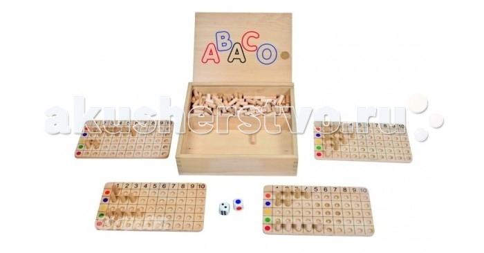 Beleduc Развивающая игра АбакоРазвивающая игра АбакоBeleduc Развивающая игра Абако  Замечательный способ развития логического и стратегического мышления в игровой форме.   Дети учатся не только считать, но и распознавать цвета и планировать свои действия.  Развивающая игра включает:   - 1 деревянную коробку с крышкой,   - 4 деревянные панели,   - 205 деревянных колышков,   - 1 игральный кубик с цветными символами,  - 1 игральный кубик с точками.<br>