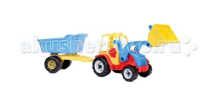 Машины FCH Трактор Мастер с ковшом и тележкой бомик мягкий конструктор трактор с тележкой