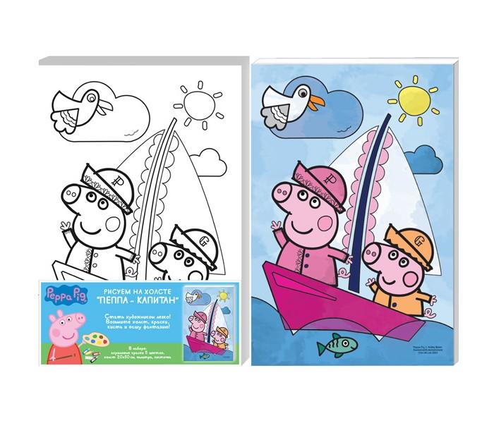 Раскраски Свинка Пеппа (Peppa Pig) Роспись по холсту Пеппа-капитан 30166 роспись по холсту пеппа капитан peppa pig 20х30см