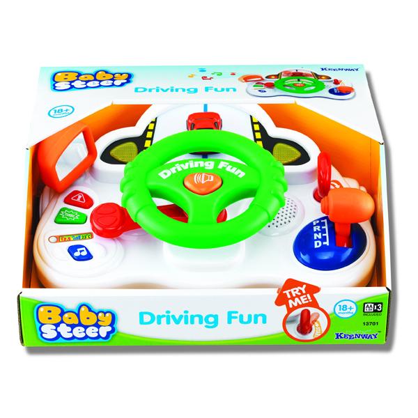 Keenway Занимательное вождениеЗанимательное вождениеЭлектронная игрушка Занимательное вождение сделает игру вашего малыша реалистичной и захватывающей. Ведь в данной игрушке присутствуют атрибуты, которые присущи настоящему автомобилю: рычаг переключения передачи, замок зажигания с ключом, а также боковое зеркало.   Автомобильный руль крутится, а в его центре имеется кнопка для звукового сигнала. Также руль снабжён разнообразными звуковыми и световыми эффектами. Данная игрушка способствует детской социальной адаптации.   Размер упаковки: 31,75 х 25,4 х 15,24 см Материал: пластик<br>