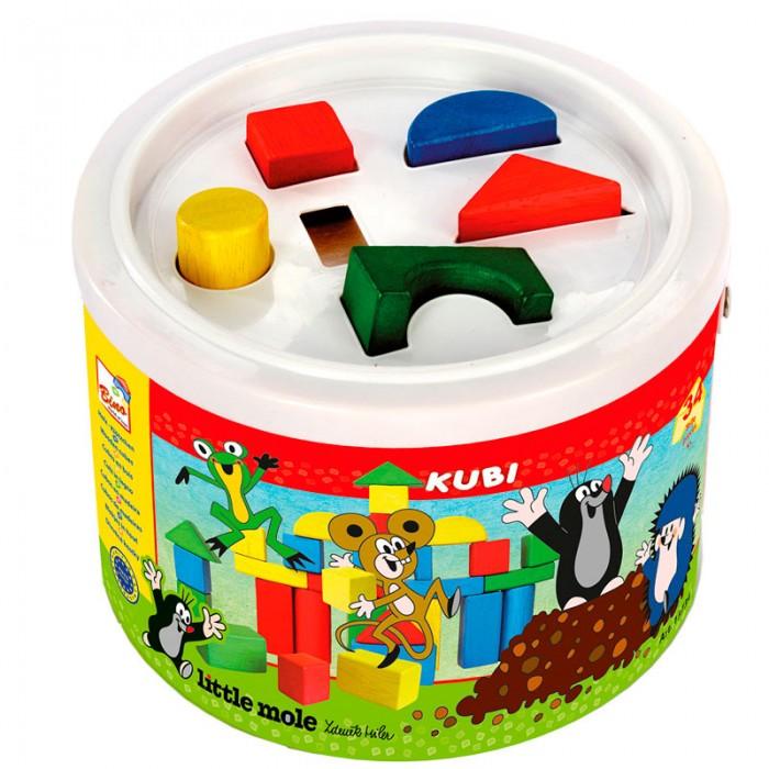 Деревянные игрушки Mertens кубики Маленький крот bino железная дорога маленький крот
