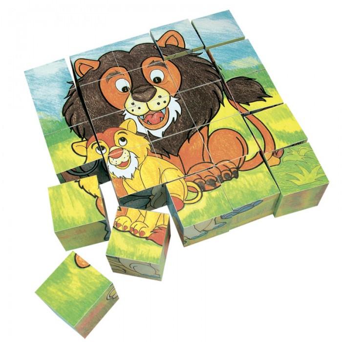 Деревянная игрушка Mertens кубики Животныекубики ЖивотныеBino Деревянные кубики Животные.  Набор кубиков познакомит малыша с животными. На каждой грани кубика изображен элемент картинки. Из двадцати пяти кубиков можно сложить шесть картинок с изображением семей животных на фоне природы, каждая из этих картинок состоит из 25 частей-кубиков. Удобно собирать картинки и хранить кубики в деревянной коробке с крышкой-задвижкой.<br>