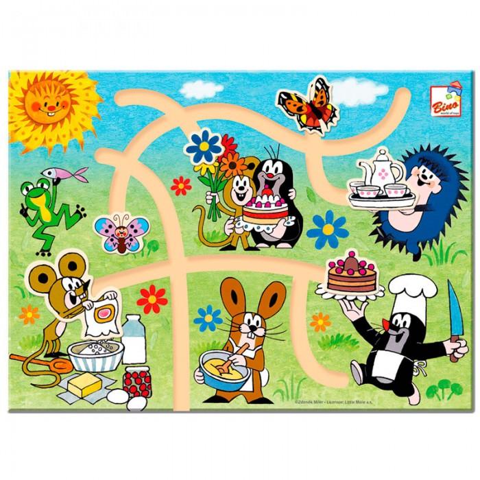 Деревянные игрушки Mertens Игра лабиринт Маленький крот bino железная дорога маленький крот