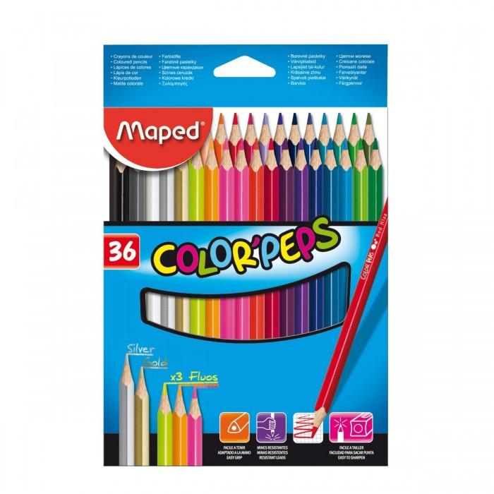 Карандаши, восковые мелки, пастель Maped Карандаши Color Peps 36 цветов карандаши цветные двухсторонние maped color peps duo 12 карандашей 24 цвета