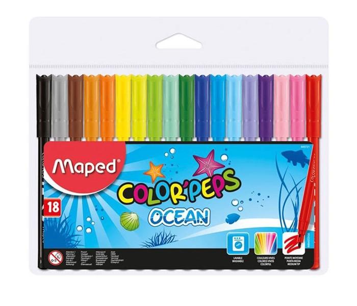 Фломастеры Maped Color Peps Ocean 18 цветов смываемые набор цветных карандашей maped color peps 12 шт 683212 в тубусе подставке