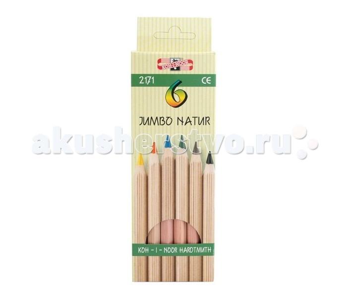 Карандаши, восковые мелки, пастель Koh-i-Noor Набор цветных карандашей Jumbo natur 6 цветов набор цветных карандашей феникс лошадь 32869 деревянные 6 шт