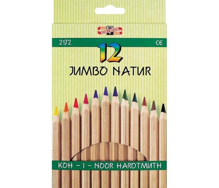 Карандаши, восковые мелки, пастель Koh-i-Noor Набор цветных карандашей Jumbo natur 12 цветов набор цветных карандашей maped color peps 12 шт 683212 в тубусе подставке