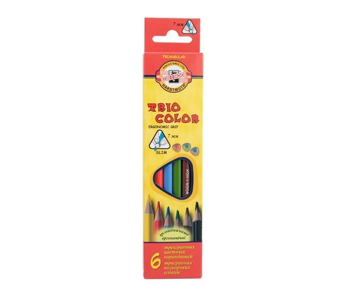 Карандаши, восковые мелки, пастель Koh-i-Noor Набор цветных карандашей Triocolor 6 цветов всё для лепки koh i noor пластилин archimedes 10 цветов