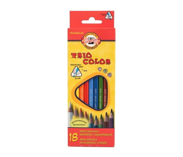 карандаши восковые мелки пастель каляка маляка набор цветных карандашей шестигранные двусторонние 6 шт 12 цветов Карандаши, восковые мелки, пастель Koh-i-Noor Набор цветных карандашей Triocolor 18 цветов