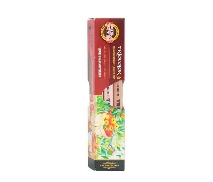 Карандаши, восковые мелки, пастель Koh-i-Noor Набор цветных карандашей художественных Triocolor 6 цветов набор цветных карандашей феникс лошадь 32869 деревянные 6 шт