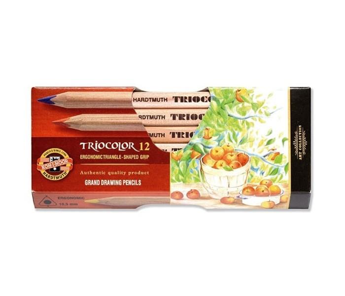 Карандаши, восковые мелки, пастель Koh-i-Noor Набор цветных карандашей художественных Triocolor 12 цветов всё для лепки koh i noor пластилин archimedes 10 цветов