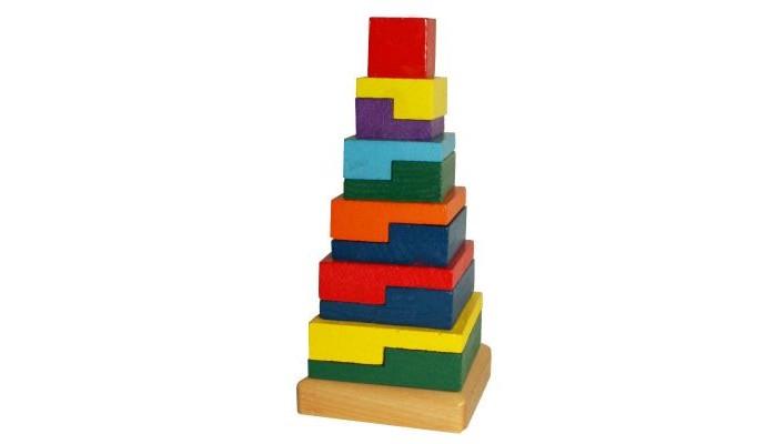 Деревянные игрушки QiQu Wooden Toy Factory Пирамида Квадраты деревянные игрушки qiqu wooden toy factory поезд