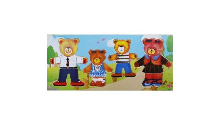 Пазлы QiQu Wooden Toy Factory Игра-пазл Четыре медведя пазлы qiqu wooden toy factory рамка вкладыш машинки