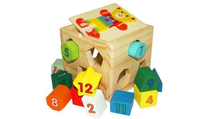 Фото Деревянные игрушки QiQu Wooden Toy Factory Куб-сортер Мишка 3 в 1